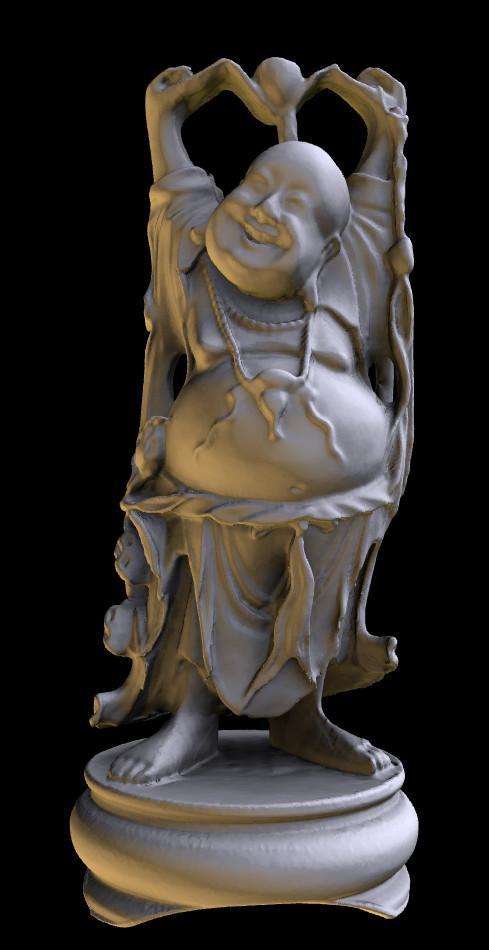 Happy Buddha with progressive geometry