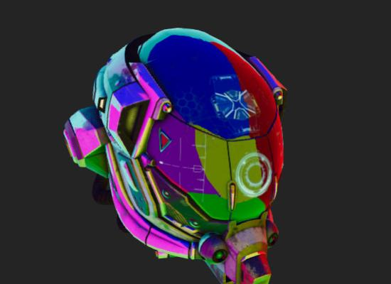 Helmet with colored directional light