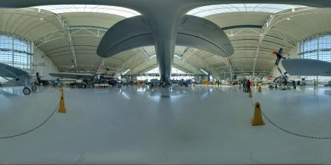 Equirectangular image of Spruce Goose tail