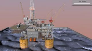 Ocean drilling Rig with interactive Sun position